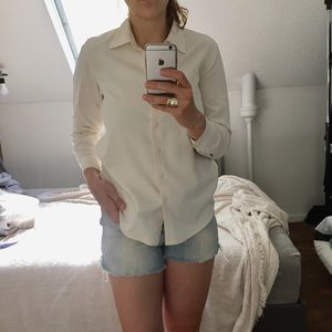 Vintage white silk long sleeve, button up top